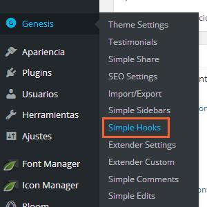 genesis simple hook