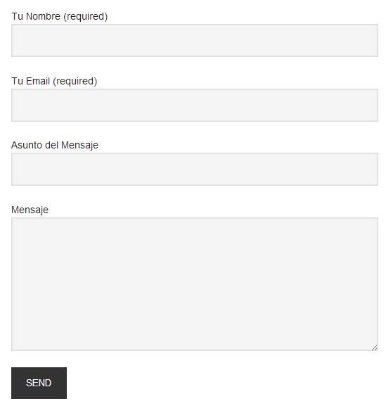 formulario de contacto en la pagina