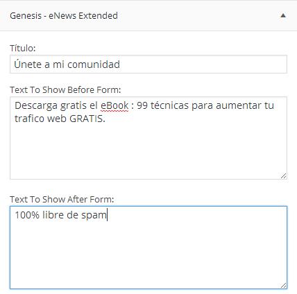 widget formulario