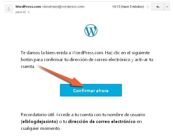 confirmar crear blog en wordpress.com gratis