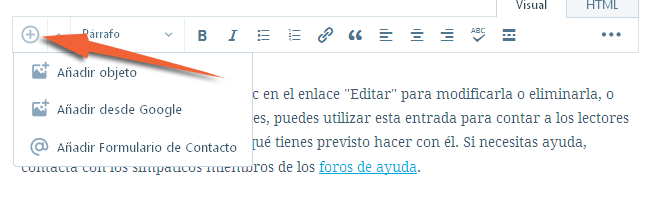editor de texto de wordpress