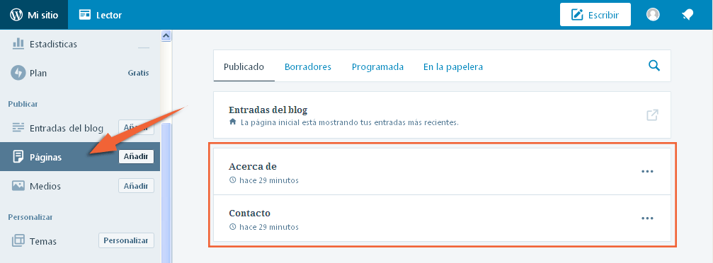 crear pagina en blog gratis wordpress.com