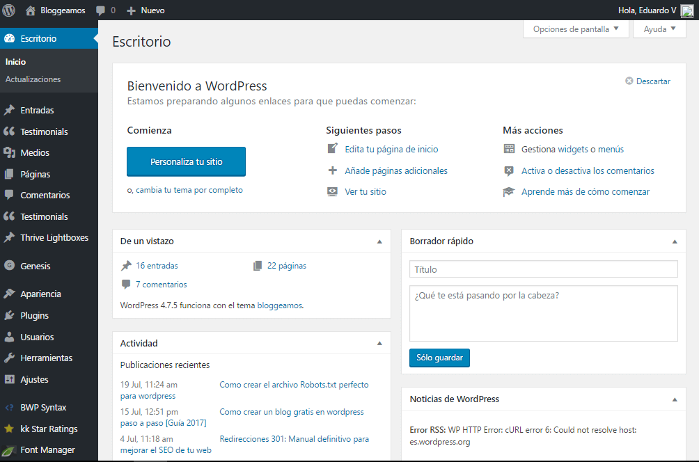 escritotio de wordpress