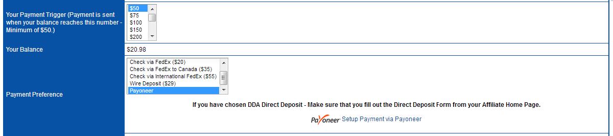 shareasale elegir metodo de pago