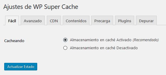 activar wp super cache